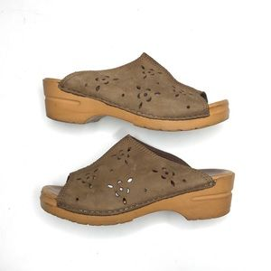 Dansko Floral Cut Out Sandal Slide Mule Leather
